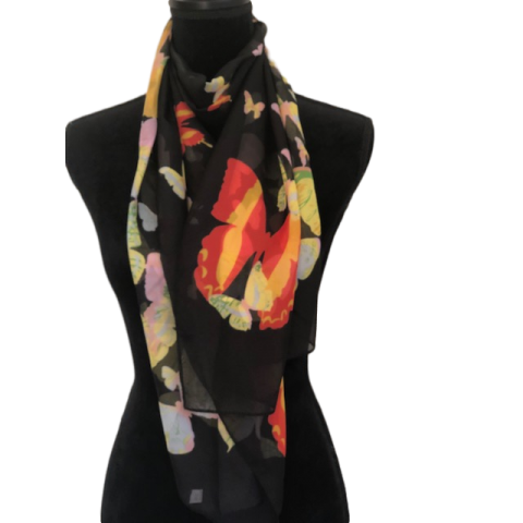 Black Scarf with Butterflies