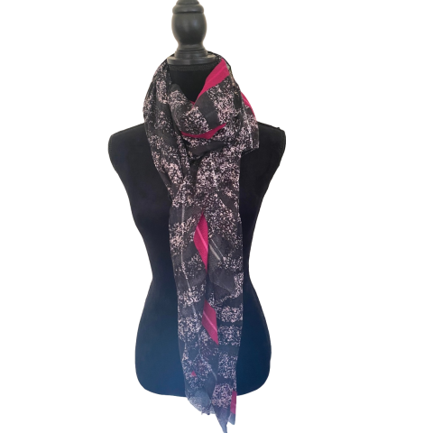 Black White and Cerise Fashion Scarf