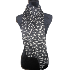 Black Scarf with Cats
