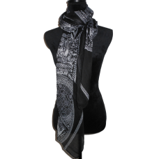 Black and White Scarf with Deers Pattern