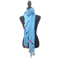 Bright Blue Scarf with Pom Poms