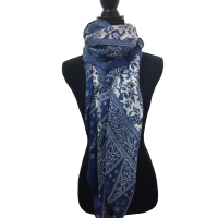 Blue and White Paisley Scarf with Tassels