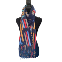 Dark Blue Multicoloured Blanket Scarf