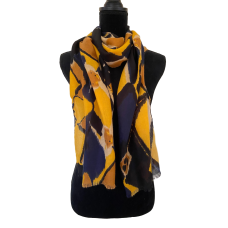 Navy Blue and Yellow Heart Scarf