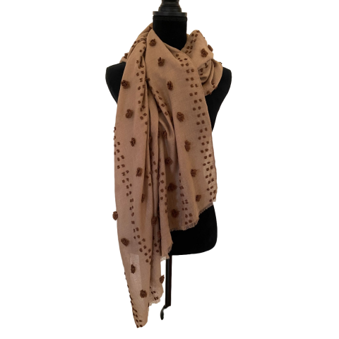 Coffee Coloured Scarf with Brown Bobbles