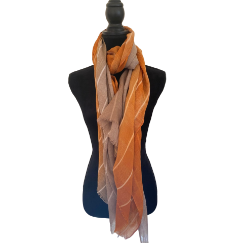 Oatmeal and Burnt Orange Fashion Scarf