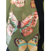 Green Scarf with Butterflies