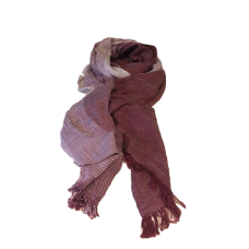 Men's Maroon and White Striped Scarf