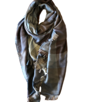Men's Blue and Brown Cotton Scarf