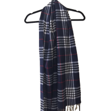Men's Blue & White Plaid Cashmere Scarf