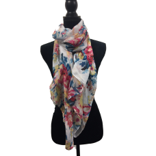 White Floral Scarf
