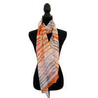 Orange Grey and Tan Striped Fashion Scarf