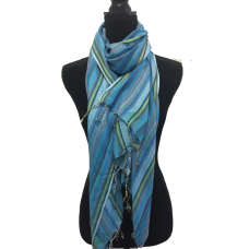 Indian Cotton Summer Blue Stripes Scarf
