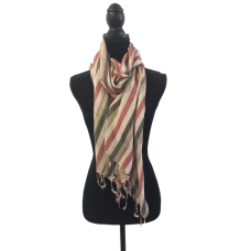 Indian Cotton Scarf Faded Red & Grey Stripes