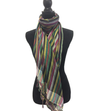 Indian Cotton Vivid Stripe Scarf