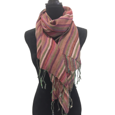 Indian Cotton Scarf Maroon and Green stripes
