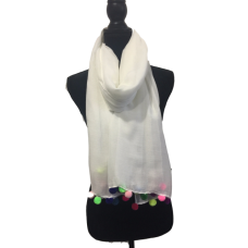 White Oversize Scarf with Coloured Pom Poms