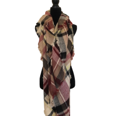 Terracotta and Cream Plaid Scarf