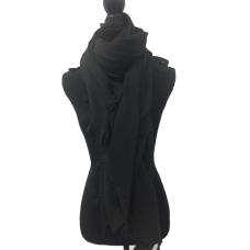 Large Black Scarf with Tassels