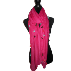 Hot Pink Oversized Scarf with Tassels