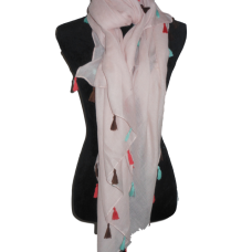 Pale  Pink Scarf with Tassels