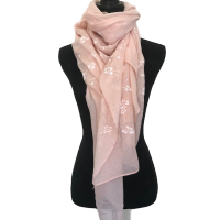 Pale Pink with Embroidered Flowers Scarf