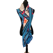 Extra Large Blue Silk Scarf