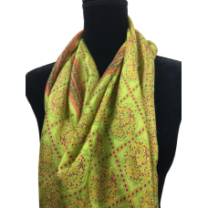 Vintage Scarf Chartreuse and Orange Silk