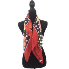 Vintage Scarf Red White and Black Florals