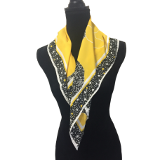 Vintage Scarf Jacques Vert Yellow Black Floral