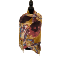Super Soft  Mustard Patterned Womens Scarf